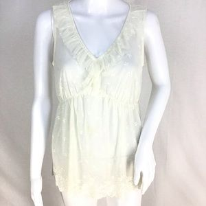 NWOT Banana Republic Netted Lace Babydoll Top